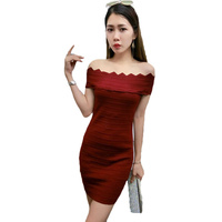 Night Shop Women S Knitted Dress 2018 New Summer Sexy A Word Collar Off Shoulder Party