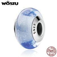 WOSTU Authentic 925 Sterling Silver Cinderella S Blue Color Murano Glass Beads Fit Original Charm Bracelet