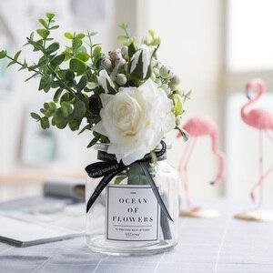 Image 2 - גיברת מלאכותי פרחים לחתונה אגרטלי פרחי בית תפאורה מלאכותי פרח זר עם אגרטל חתונת שולחן קישוט