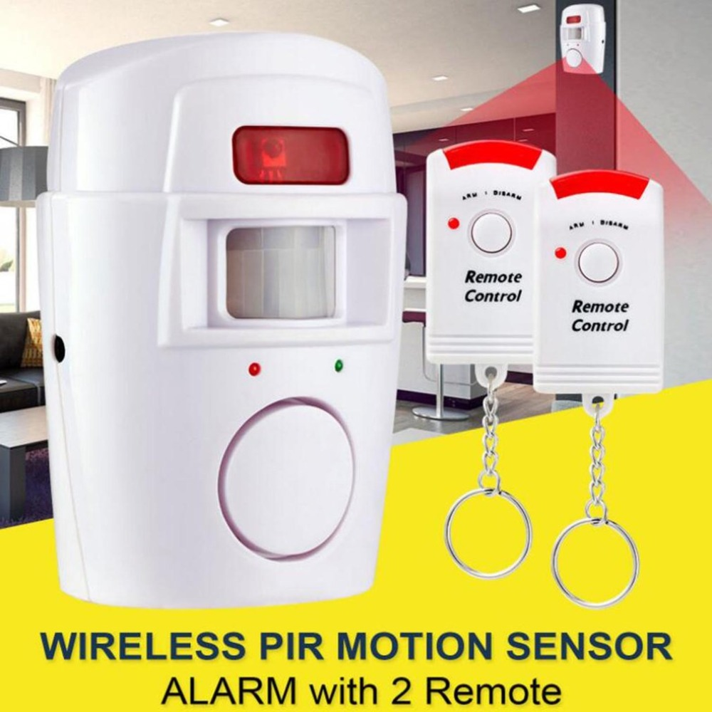 PIR Motion Sensor Alarm Wireless Home Garage Caravan 2 Remote Controls Security PIR Motion Detectors For Home Caravans