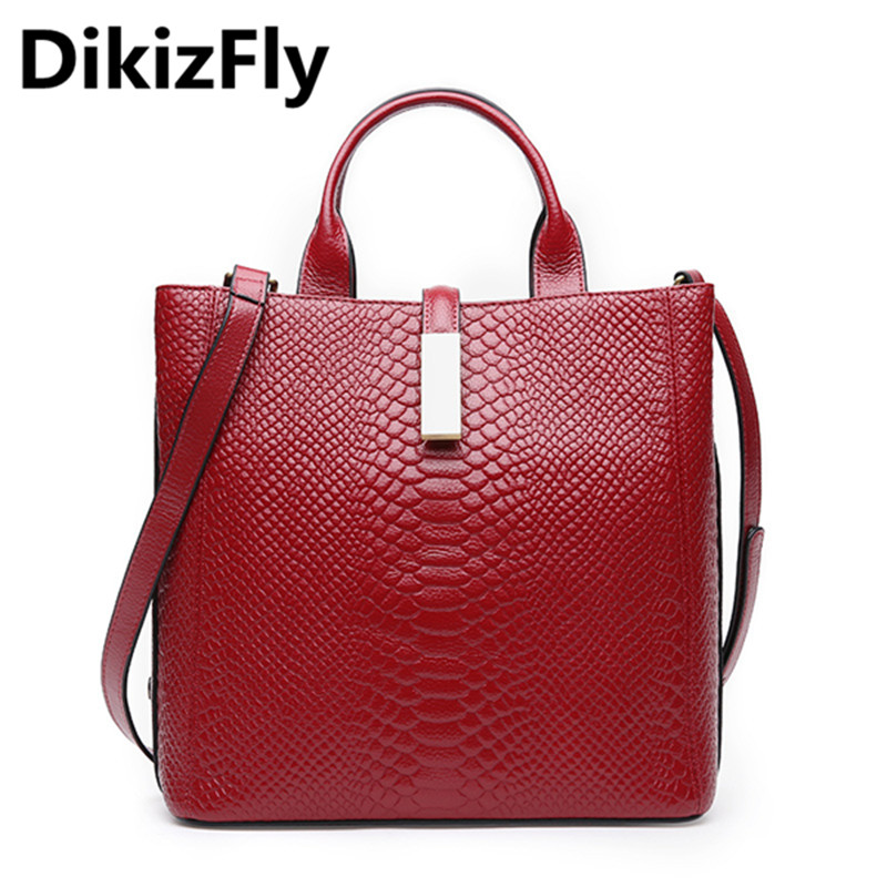 DikizFly Brand Alligator Totes bag woman Genuine Leather handbags Classic Designer Shoulder Bag Female Bags Women-messenger-bags цена