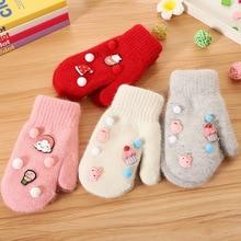 Горячая мода зима теплые митенки, перчатки ребенок дети девочка Милый Весь покрытый палец Холтер перчатки