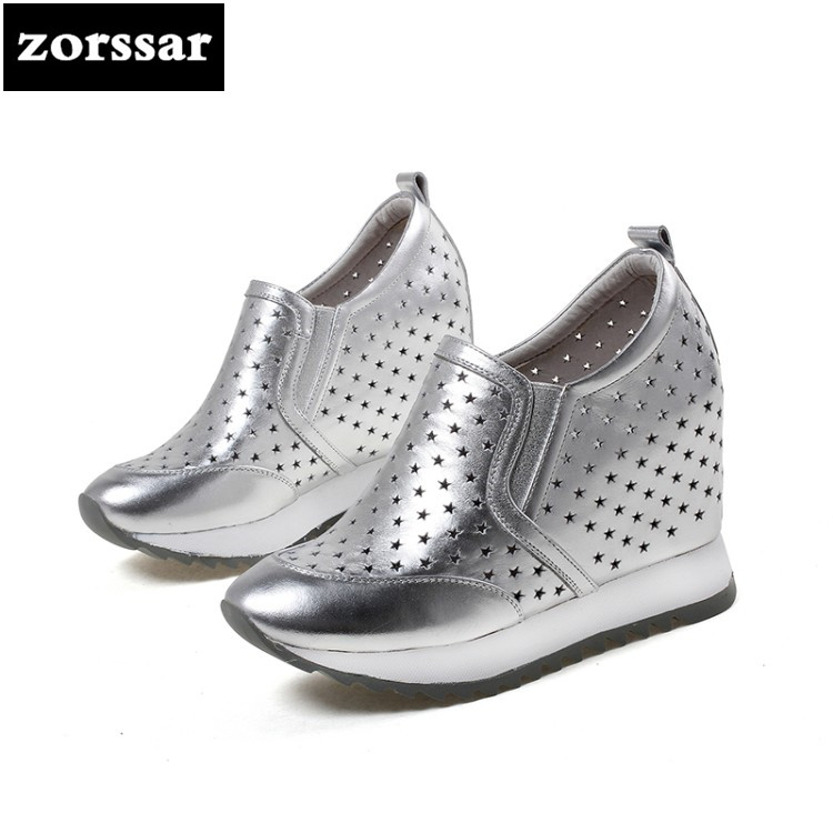 {Zorssar} 2018 New Genuine Leather casual womens shoes pumps Slip-on increased internal High heels shoes women platform shoes zorssar brand 2018 new womens creepers shoes heels casual wedges high heels pumps shoes fashion suede women platform shoes