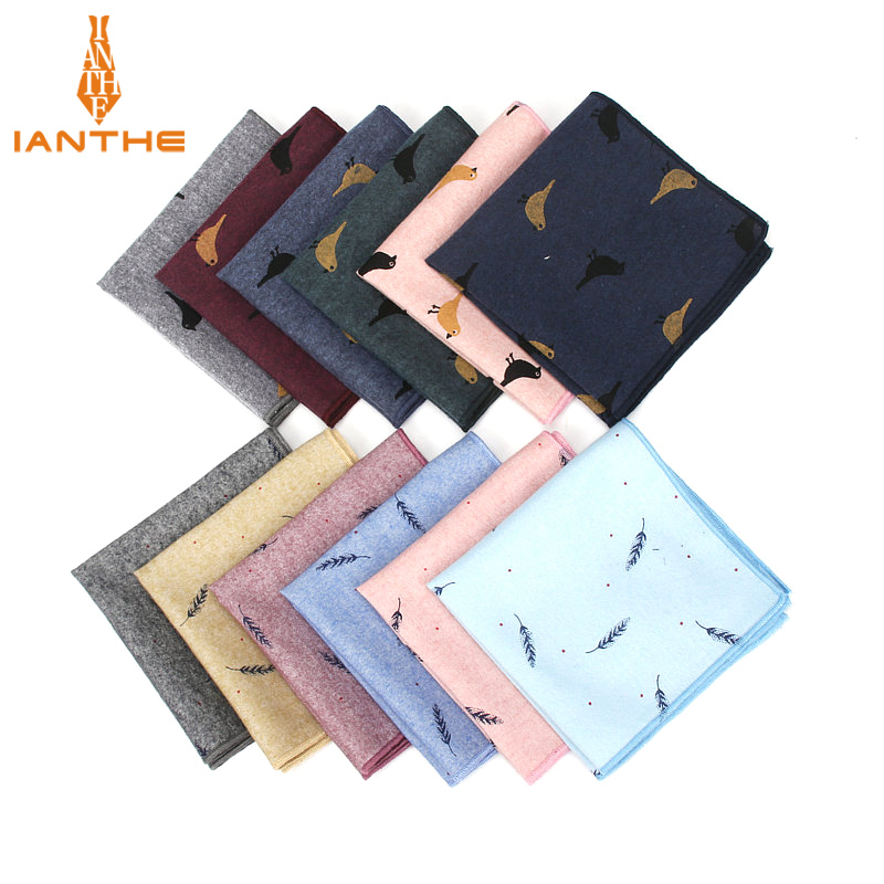 Casual Animals Pattern Pocket Square Leaf Print Handkerchief For Mens Suits Cotton 25*25cm Birds Handkerchief Chest Towel Hanky