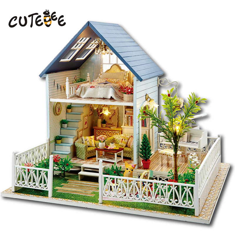 CUTEBEE Doll House Miniature DIY Dollhouse With Furnitures Wooden House Toys For Children Birthday Gift hordic holiday A030 cutebee doll house miniature diy dollhouse with furnitures wooden house toys for children birthday gift home decor craft m017