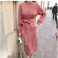 Winter Sweater Dress Elegant Knee Length Pencil Dress 2018 Fashion Slim Pull Femme Package Hips Knitted Dresses Bodycon Vestido