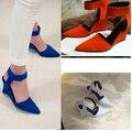 Nuevos zapatos de las señoras bombas de las mujeres zapatos de Las Cuñas de la plataforma del Tobillo Punta estrecha Bombas Sexy Sandalias de Tacón Alto cuñas chaussure femme