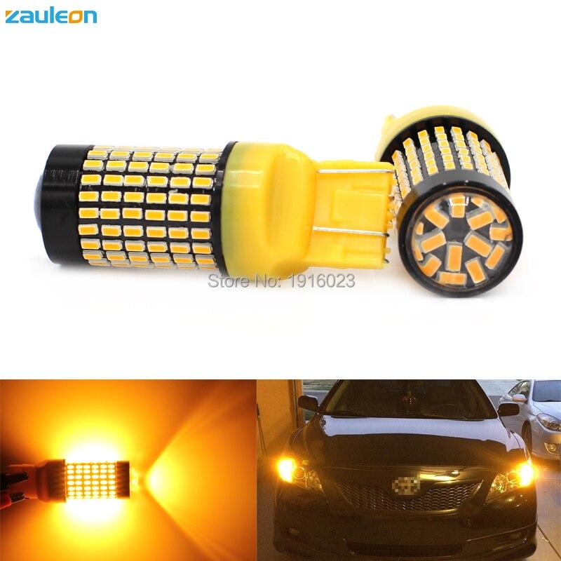 Zauleon 2pcs Super bright T20 7443 LED Turn Signal light with 132SMD 3014 LED W21/5W Yellow Parking lamp DRL car-styling smith chu professional hair scissor tools fringe 5 5 flat cut set