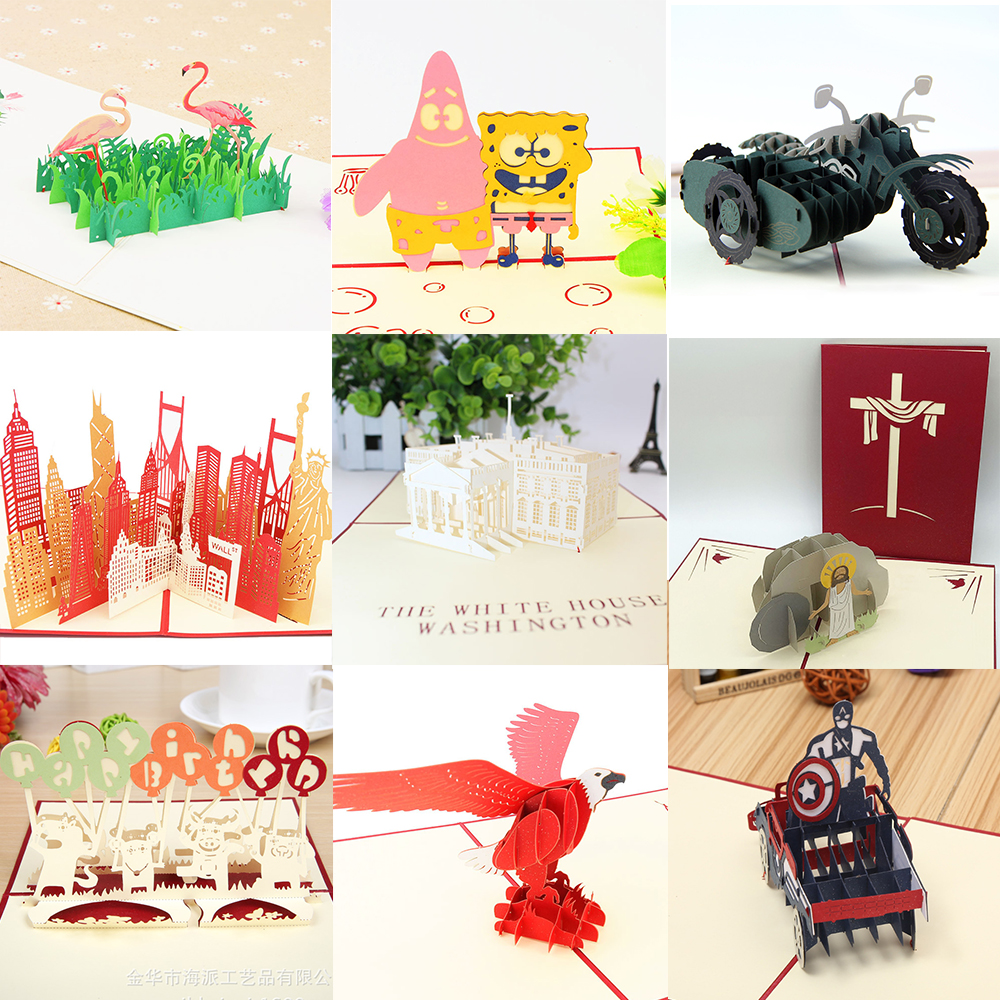 Pop UP 3D Birthday Cards World Attractions Place Business Wedding Invitations Card Tourist Postcard Greeting Gift Thank You Card image