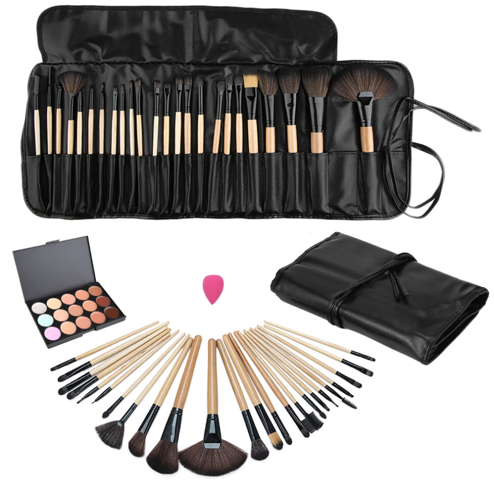 1Set MakeUp Brushes 15 Color Beauty Makeup Concealer Platte + 24pcs Pro Makeup Cosmetic Brushes + Sponge Puff Set Drop Shipping candy color calabash shaped cosmetic makeup cotton pads sponge puff pink