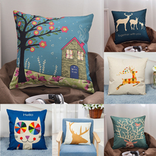 Nordic Style Deer Geometric Cushion Covers Cute Animal Cat Pillow Cases Linen Cotton pillow Bedroom 45*45cm