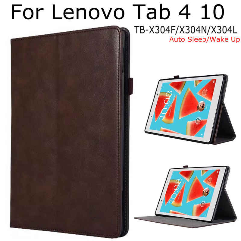 "Magnetische Case voor Lenovo Tab 4 10 TB-X304F/X304N/X304L 10.1 ""Tablet, iBuyiWin Smart PU Leather Funda Cover Shell + Gratis Film + Pen"