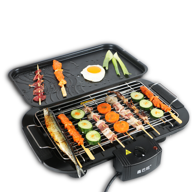 Environmental Healthy Electric Barbecue BBQ Household Indoor Smokeless Roasting Machine Grill Baking Tray Non-stick Griddle 220v electric bbq grade machine non stick commercial and household barbecue grill smokeless machine square and round plate