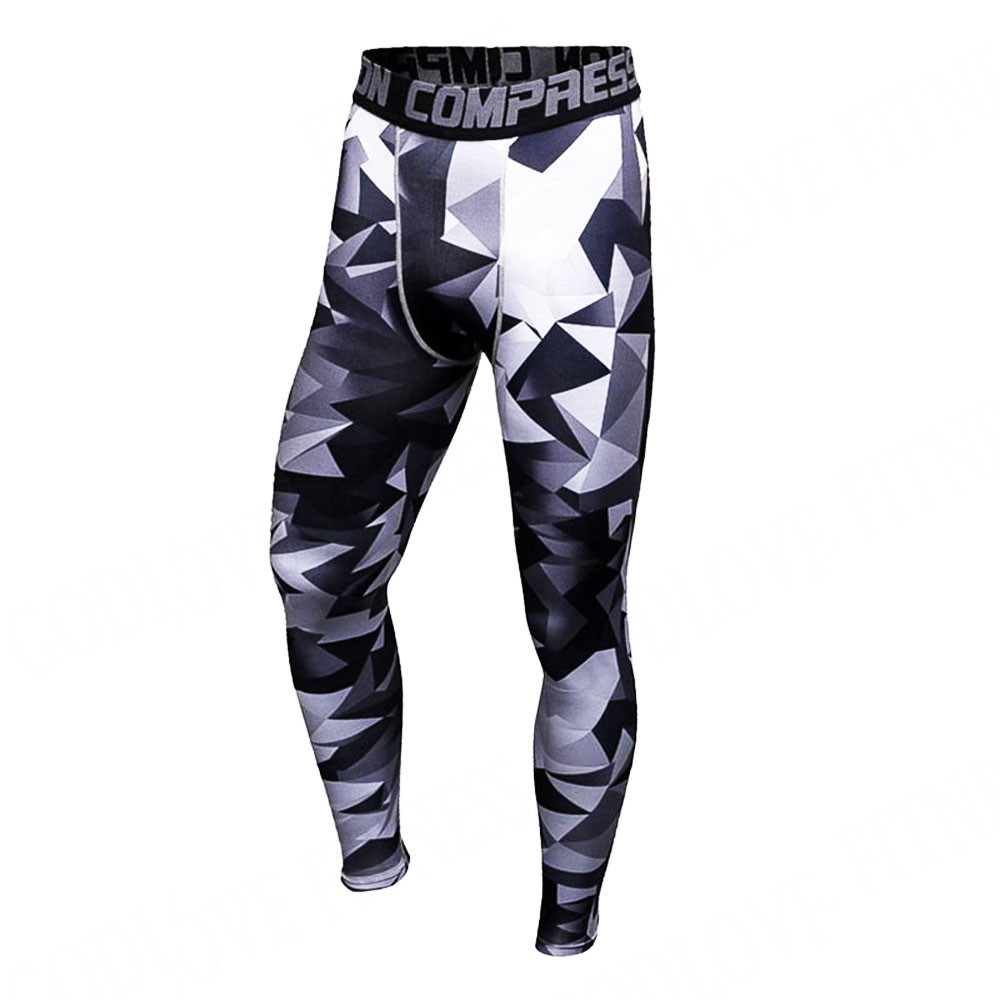 Camouflage 3D Print Mens Compression Pants Fashion Jogger Collant - Abbigliamento da uomo - Fotografia 1