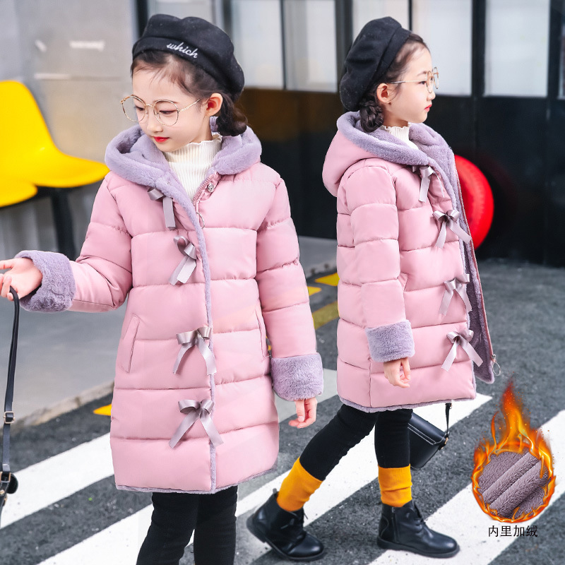 Fashion Winter Heavyweight Long Girls Coat Warm Parkas Children Outfits Cotton Filling Polar Fleece Lining For 3-14 Years Old