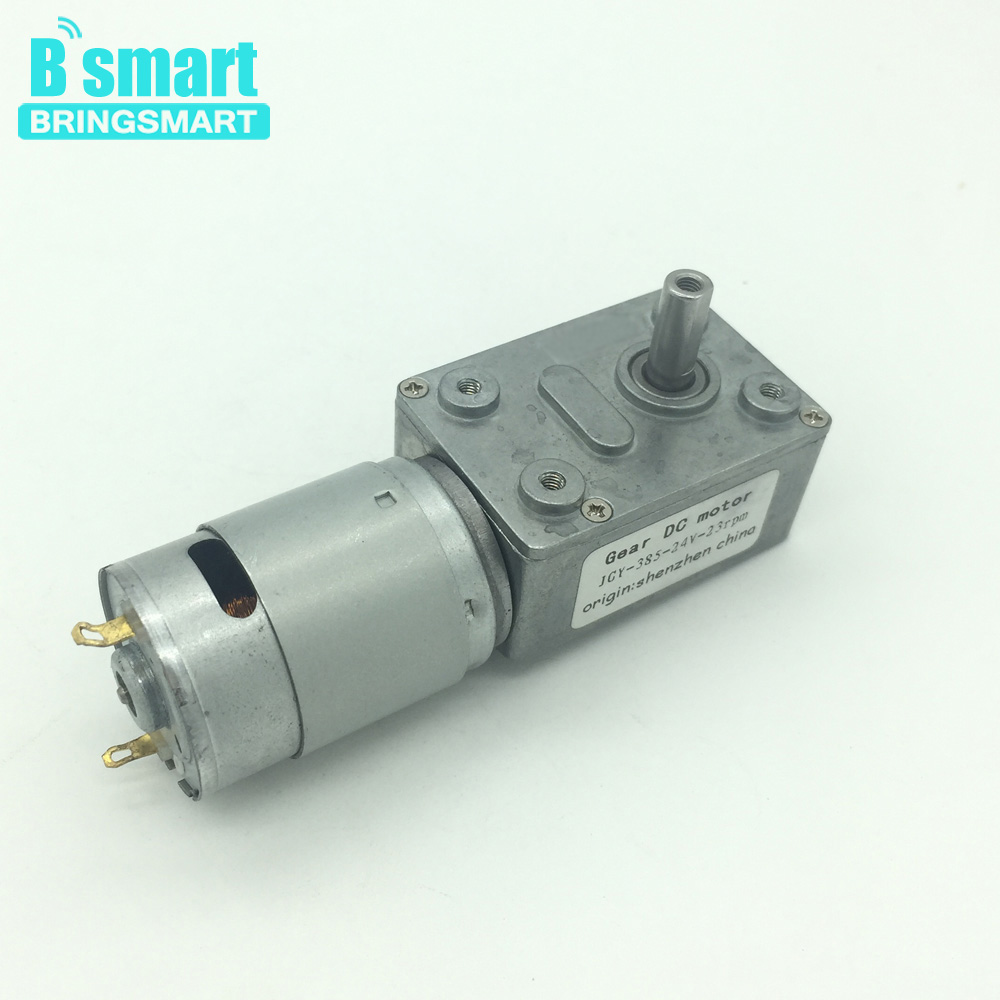 Bringsmart JGY-385 Worm Geared motor DC 12V with Self-lock Reducer Gearbox Mini DC Motor Reductor 24v Carbon Brush for DIY Part цены онлайн