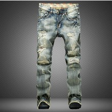 2017 new men jeans American style knees holes denim pans Male Casual pencil pants biker jeans men #953