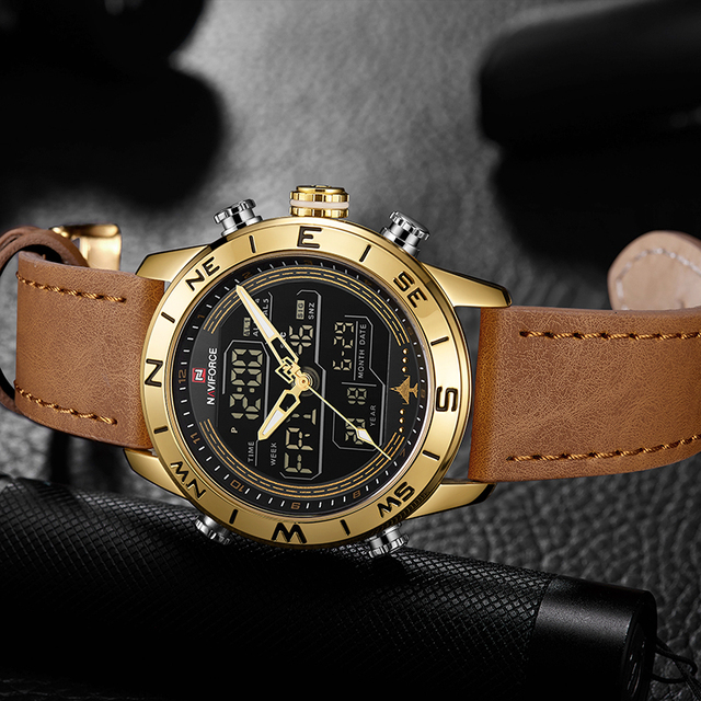 Mens Leather Sports Waterproof Military Watch
