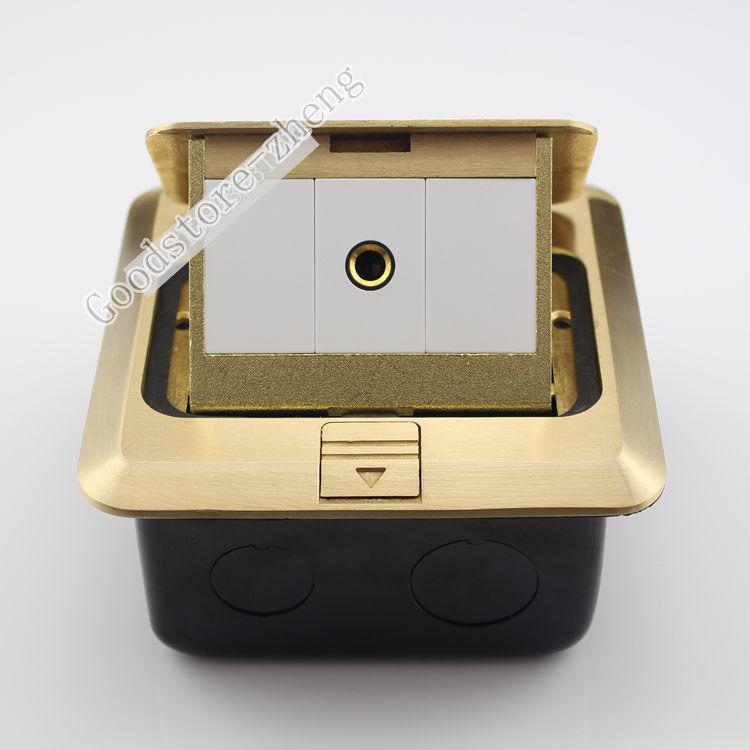 Bronze Pop-up Microphone 6.35mm Floor Panel Ground Outlet Media Socket Receptacl цена 2016
