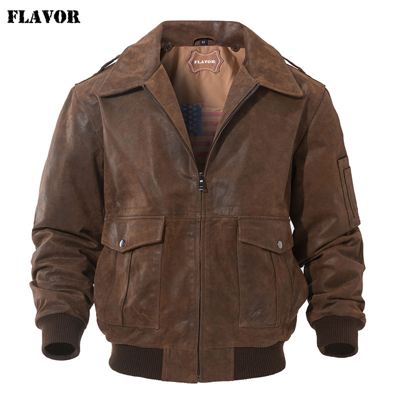 FLAVOR Men's Genuine Leather Bomber Jacket Men Warm Real Pigskin Air Force Leather Jacket Removable Fur Collar Aviator Coat