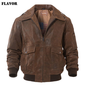 FLAVOR Men's Genuine Leather Bomber Jacket Men Warm Real Pigskin Air Force Leather Jacket Removable Fur Collar Aviator Coat