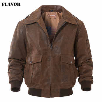 FLAVOR Men's Genuine Leather Bomber Jacket Men Warm Real Pigskin Air Force Leather Jacket Removable Fur Collar Aviator Coat - DISCOUNT ITEM  53% OFF All Category