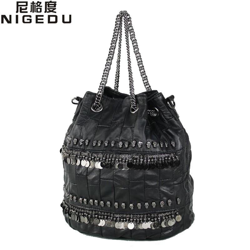 100% sheepskin skull rivet women bucket bag genuine leather Shoulder bag for ladies chain sequins Handbag messenger bags bolsas
