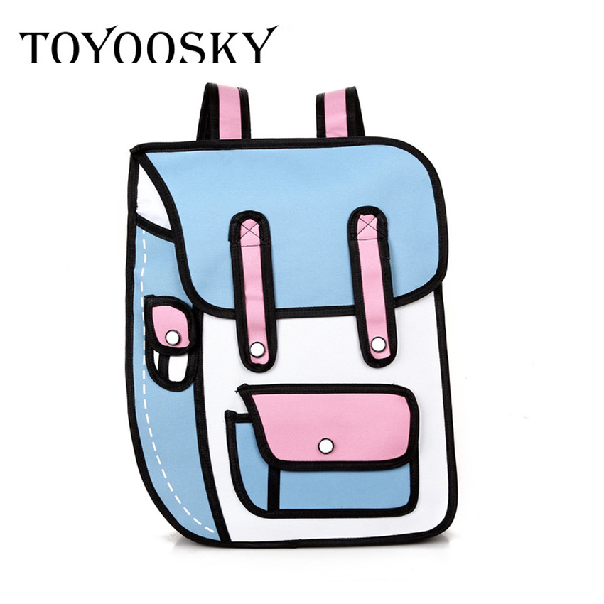 TOYOOSKY Brand Cartoon Paper Bag New 3D Jump Style 2D Drawing Comic Backpack Messenger Fashion Cute Student Bags Unisex Bolos ywtj cute simple cartoon spirit style cylinder paper towels holder blue orange 2 pcs