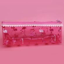 Flamingos Pencil Case Transparent PVC School Cute Pencil Box Bts Stationery Gift Estuches School Supplies Kawaii Pencil Bag