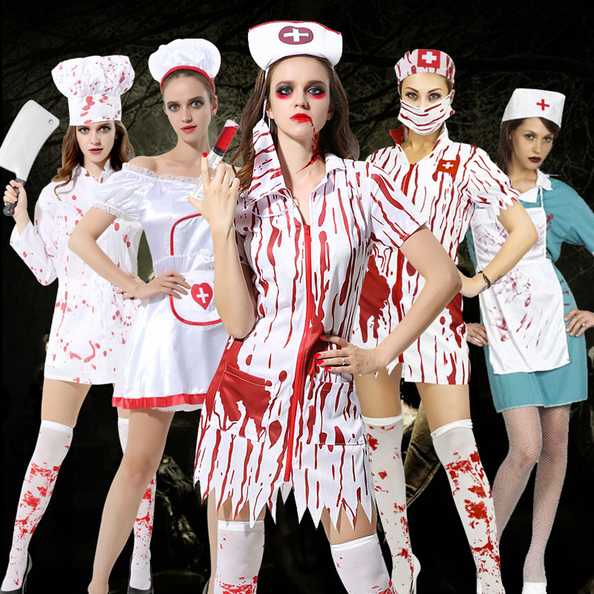 2019 Adults Halloween Party Costumes for Women Bloody Nurse Doctor Cosplay Clothing Set Scary Fancy Role-play Costumes