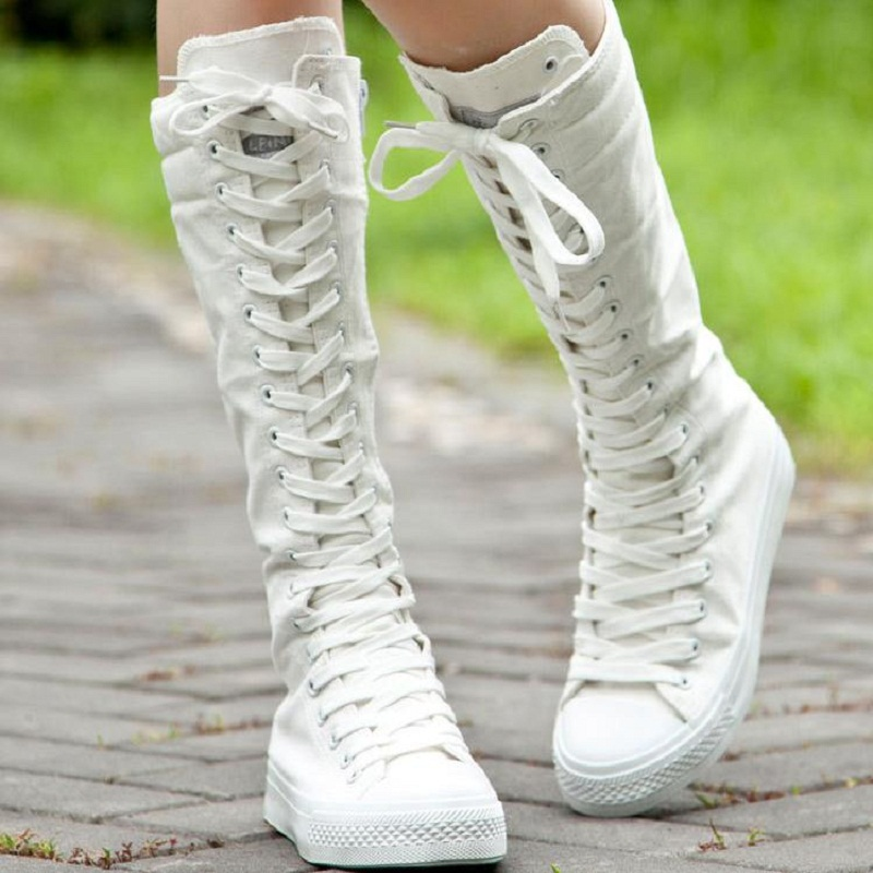 2015 New font b Women b font Casual Shoes Lace Up Canvas Knee High Boots Ladies