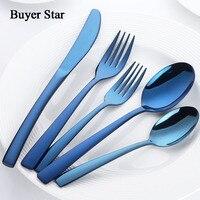 40 Pcs Flatware Set Stainless Steel Cutlery Knife Fork Devices Tableware Western Food Dinnerware Set Black Gold Silverware