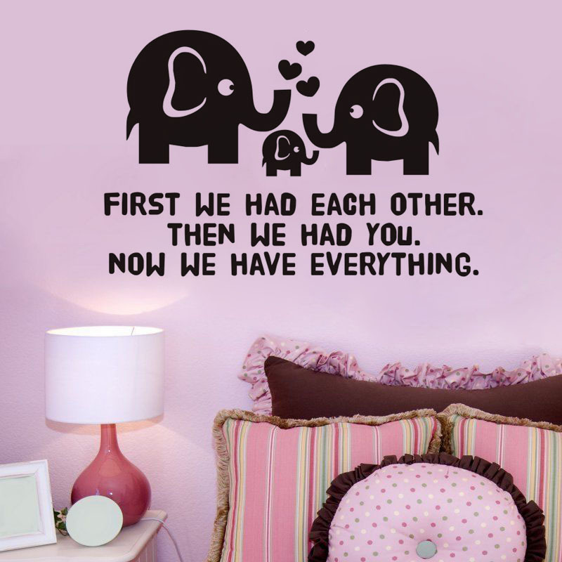 A warm and lovely family elephant wallpaper English wall stickers ...