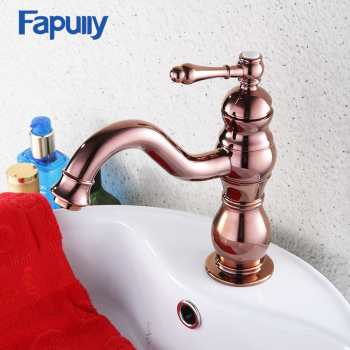 Fapully Deck Mounted Bathroom Sink Single Level Basin Water Faucet Rose Golden Basin Single Handle Mixer Tap 564-11R