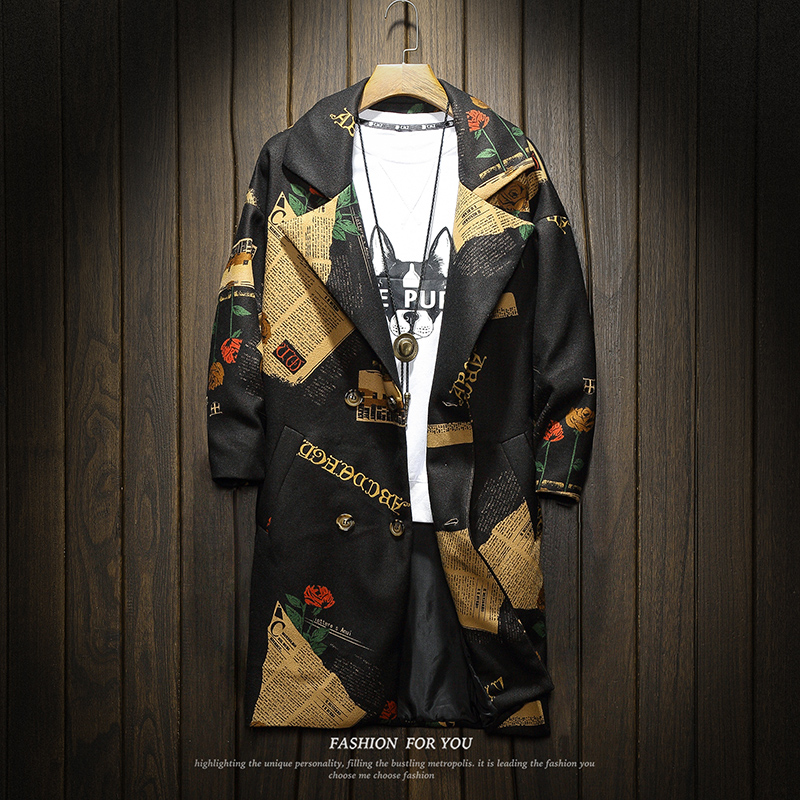 Mens   Trench   Coat 2019 New Fashion Printed Floral Long Coat Autumn Winter Japan Style Windbreaker Pocket   Trench   Jackets Men