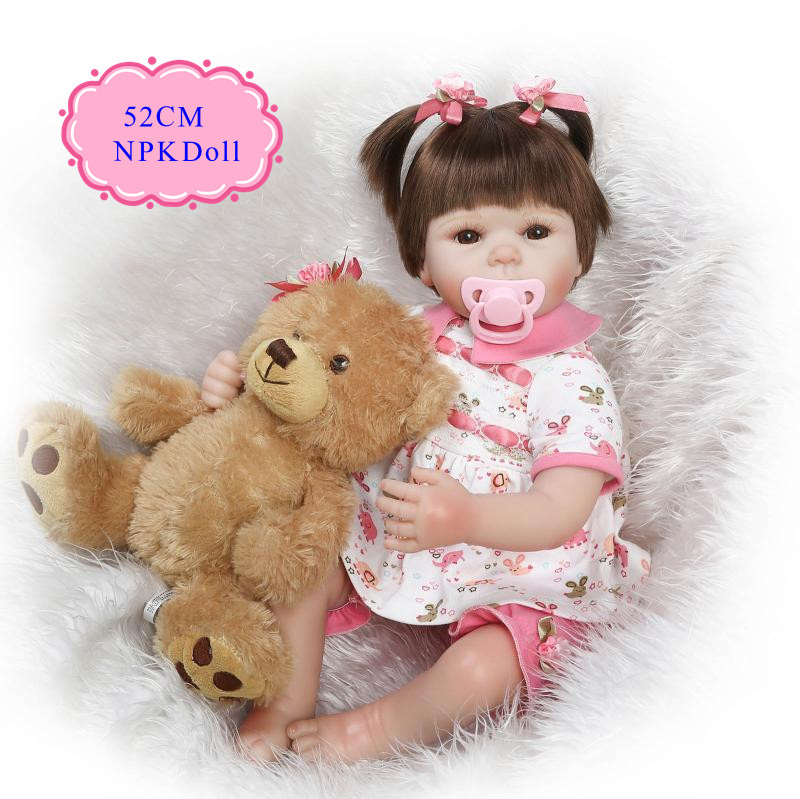Merry Christmas Gift 20 Inch Lifelike Reborn Baby Dolls For Girls Best Gift For Baby As Bedtime Playhouse Doll /Simulation Doll short curl hair lifelike reborn toddler dolls with 20inch baby doll clothes hot welcome lifelike baby dolls for children as gift