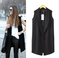 2015 Summer Fashion Brand Design Ladies Black Blazer Colloar Sleeveless Vest Coat jacket Women Long waistcoat
