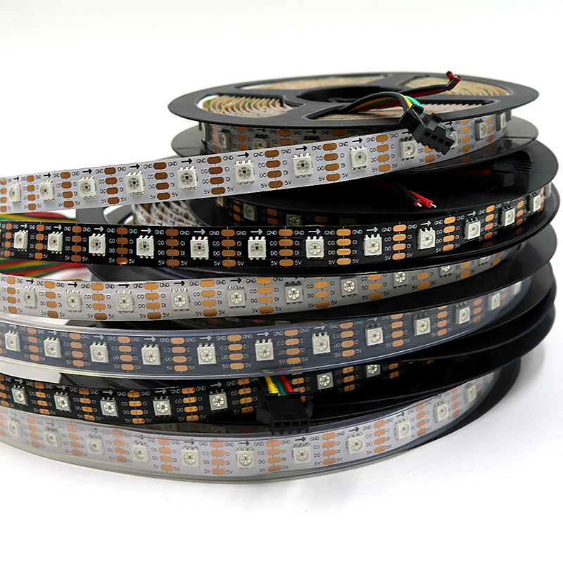 LED APA102/SK9822 30/36/60/96/144 leds/Meter APA102C 5V Full Color Flexible Strip Light IP30/IP65/IP67 Black PCB White PCB 5mx new arrival sk9822 5050smd rgb digital flexible led strip light dc5v input 30 32 48 60 72 144led m black pcb free shipping