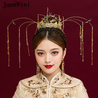 JaneVini Traditional Chinese Wedding Crown Beaded Ancient Green Hairpins Long Tassel Wedding Headdress Bridal Jewelry Ornament