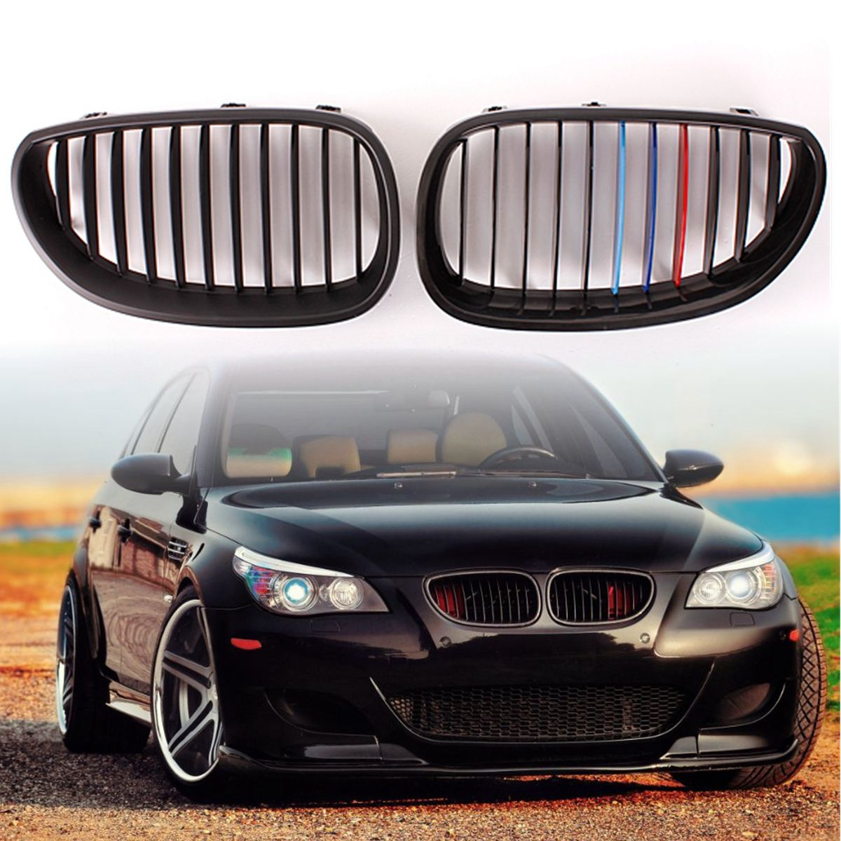 1pair Gloss Black M Color Front Kidney Grille Racing Grill For Bmw 5 Series E86 Pair Car Sport E60 E61