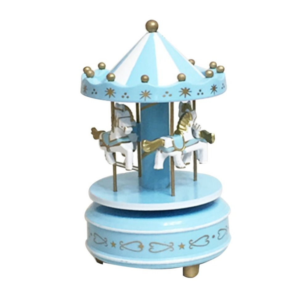 New Merry-Go-Round Wooden Music Box Toy Child Baby Game Home Decor Carousel horse Music Box Christmas Wedding Birthday Gift