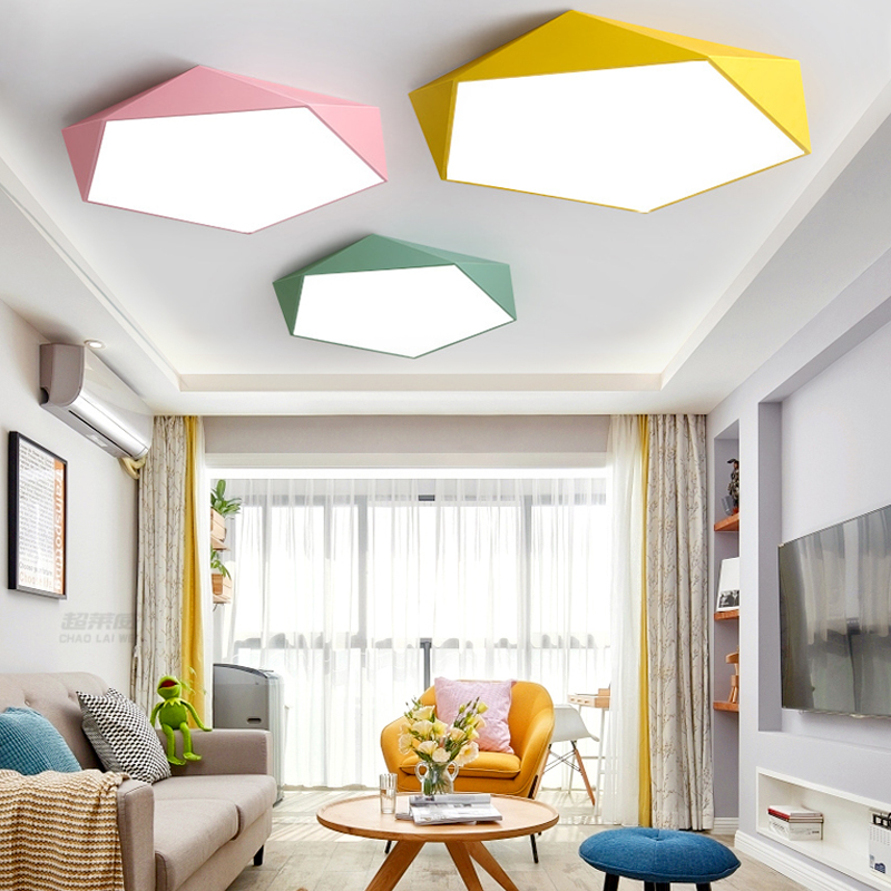 Macaron Pentagonal ceiling lights Acrylic LED Lamp Modern Living Room Bedroom Restaurant Kids Room Nordic Home Lighting Fixture