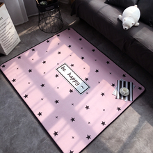 Fashion Modern Lovely Sweet Pink Stars Happy Living Room Bedroom Parlor Decorative Carpet Area Rug Baby Play Mat Home Decoration