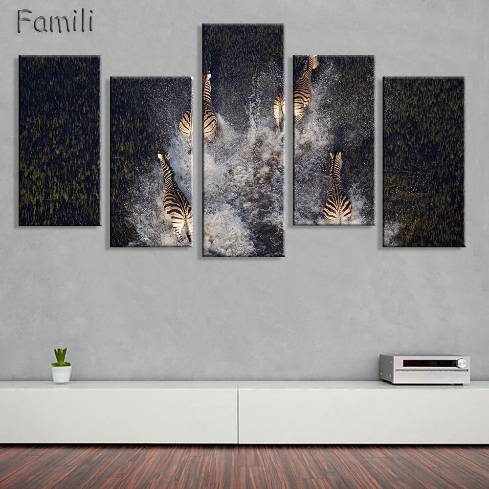Zebra deer simple canvas painting wall art animal posters - Simple canvas painting for living room ...