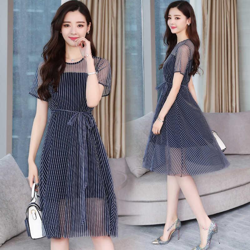 5fa6867d676 2XL плюс Размеры летние сетчатые миди в полоску шик платье Boho 2018 новый  элегантный корейский Для