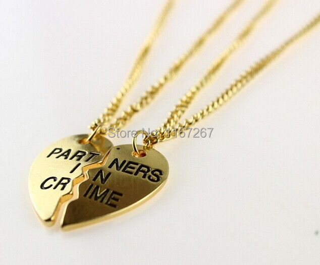 6bc8d9468f7e5 US $9.35 48% OFF|Brand Fashion Jewelry Creative Half Heart Girl Love  Necklace Best Friends Partners In Crime Necklaces(2 pcs 1 set)-in Pendant  ...
