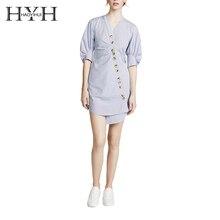 HYH HAOYIHUI Button Down Wrap Shirt Dress V Neck Short Puff Sleeve Stripe Asymmetric Slim Mini Dress for Female цены
