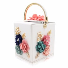 Trendy Design Handbag with Flowers Decoration