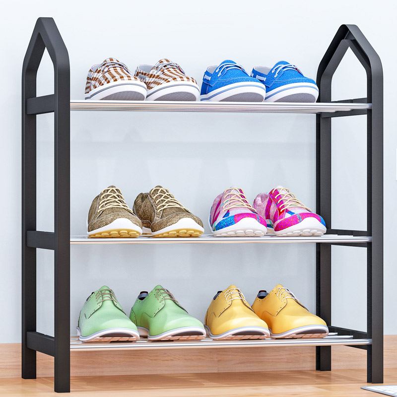 Simple Shoe rack Steel Pipe Plastic 3 Tier Shoe Rack Shelf Easy Assembled Light Storage Organizer Stand Holder Space Saving nocm shoe rack free standing adjustable organizer space saving black 6 tier