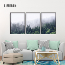 Canvas Print Painting Abstract Landscape Cloud Mountain Dense Forest Nordic Style Wall Art Picture For Home Decoration Unframed